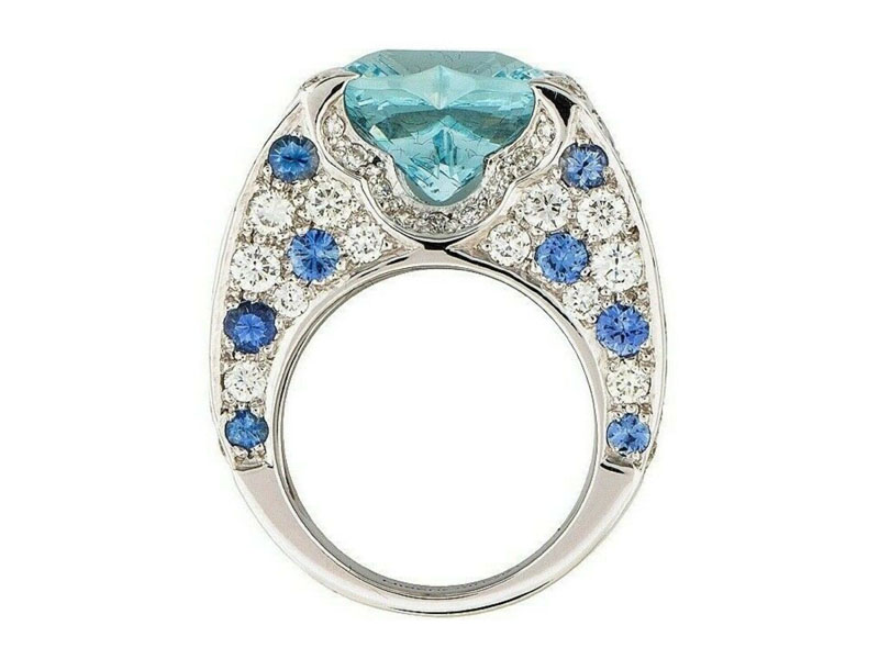 Mauboussin кольцо с Аквамарином, белыми бриллиантами и  сапфирами